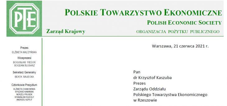 Gratulacje dla Prezesa oddziału PTE w Rzeszowie