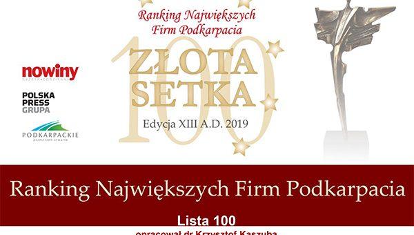Ranking Największych Firm Podkarpacia – Złota Setka 2019